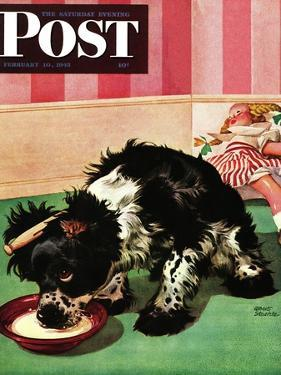 """Clothespinned Butch,"" Saturday Evening Post Cover, February 10, 1945 by Albert Staehle"