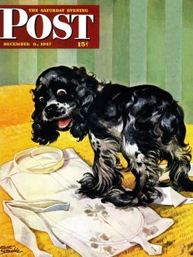 """Muddy Paw Prints,"" Saturday Evening Post Cover, December 6, 1947 by Albert Staehle"
