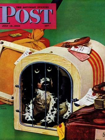 """Traveling Butch,"" Saturday Evening Post Cover, July 15, 1944 by Albert Staehle"