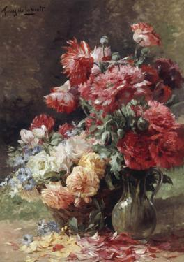Vase with Peonies and a Basket with Flowers by Albert Tibule Furcy de Lavault