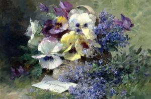 Pansies and Forget-Me-Not by Albert Tibulle de Furcy Lavault