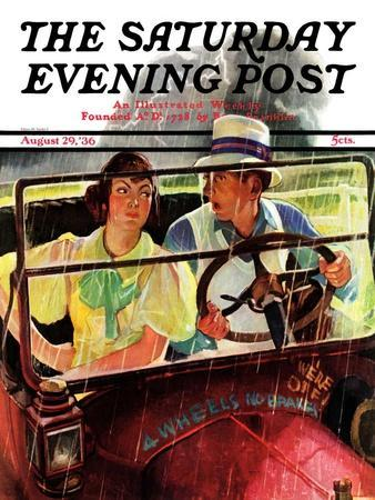 """""""Caught in the Rain,"""" Saturday Evening Post Cover, August 29, 1936"""
