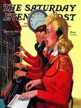 """Hotel Switchboard Operators,"" Saturday Evening Post Cover, June 21, 1941 by Albert W. Hampson"