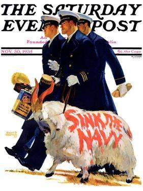 """Sink the Navy,"" Saturday Evening Post Cover, November 30, 1935 by Albert W. Hampson"