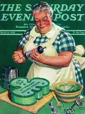 """""""St. Paddy Cake for Policemen,"""" Saturday Evening Post Cover, March 16, 1940 by Albert W. Hampson"""