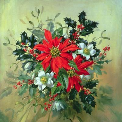 A Christmas Arrangement with Holly, Mistletoe and Other Winter Flowers by Albert Williams