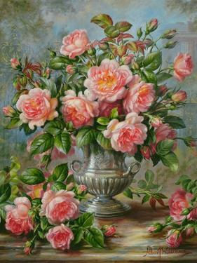 English Elegance Roses in a Silver Vase by Albert Williams