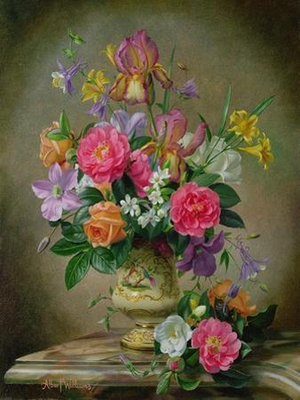 Peonies and Irises in a Ceramic Vase by Albert Williams