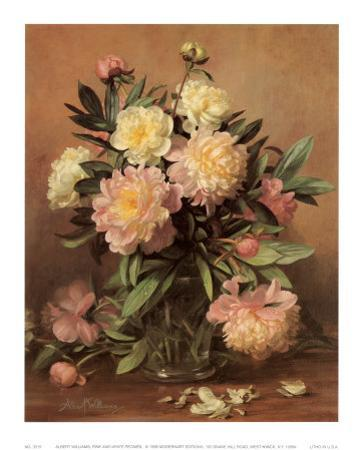 Pink and White Peonies by Albert Williams