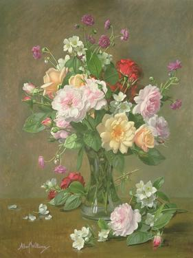 Roses and Gardenias in a glass vase by Albert Williams