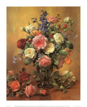 Roses in a Blue Vase by Albert Williams