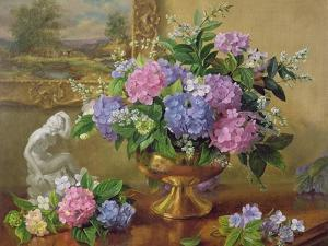 Still Life of Hydrangeas and Lilacs by Albert Williams