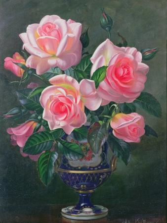Still Life with Pink Roses in Vases by Albert Williams