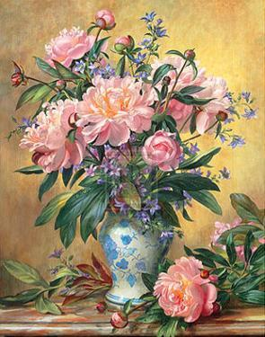 Vase of Peonies and Canterbury Bells by Albert Williams