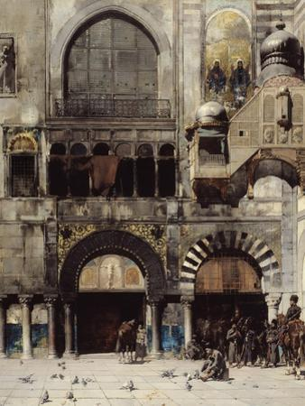 Circassian Cavalry Await their Commander at the Door of a Byzantine Monument, Memory of the Orient by Alberto Pasini