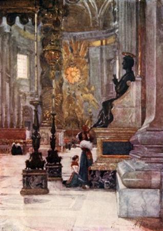 Interior of S Peter's, the Bronze Statue of S Peter