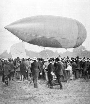 Alberto Santos-Dumont Landing His Airship Number 9 in Longchamp, Paris, 1903
