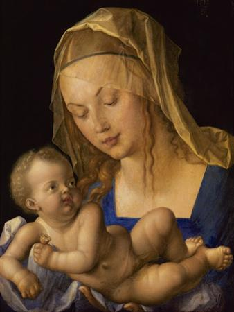 Madonna with the Pear. Child is holding a slice of a pear by Albrecht Dürer