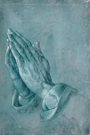 Praying Hands (study). Point of brush and black ink, heightened with white, on blue prepared paper. by Albrecht Dürer