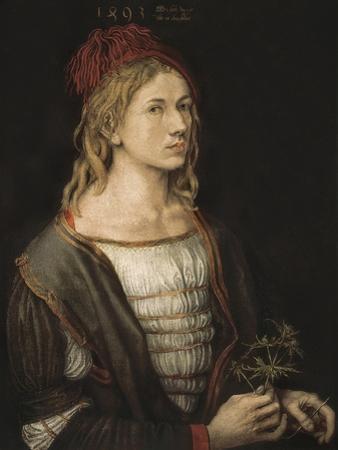 Self-Portrait or Portrait of the Artist Holding a Thistle by Albrecht Dürer