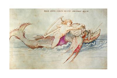The Greek poet Arion riding the dolphin.  Around 1515. Watercolour on paper,14,2 x 23,4 cm. by Albrecht Dürer