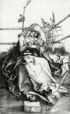 Virgin and Child Seated on a Grass Bench, 1503 (Engraving) by Albrecht Dürer