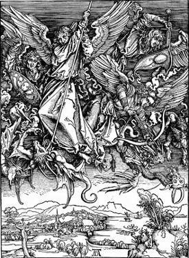 """Albrecht Durer (Illustration for """"Apocalypse,"""" Scene: Michael's battle with the dragon) Art Poster"""