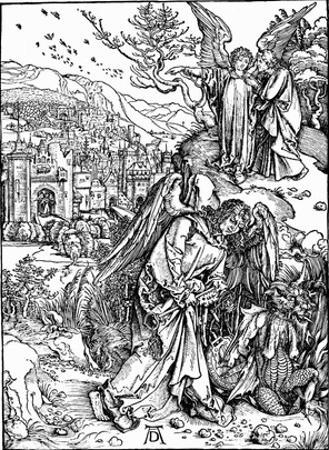 "Albrecht Durer (Illustration for ""Apocalypse,"" Scene: The angel with the key to the abyss)"