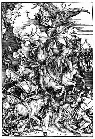 """Albrecht Durer (Illustration for """"Apocalypse,"""" Scene: The four apocalyptic horsemen) Art Poster Pri"""