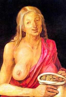 Albrecht Durer Old Woman with a Purse Art Print Poster