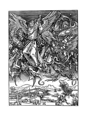 St Michael Battling with the Dragon, 1498 by Albrecht Durer