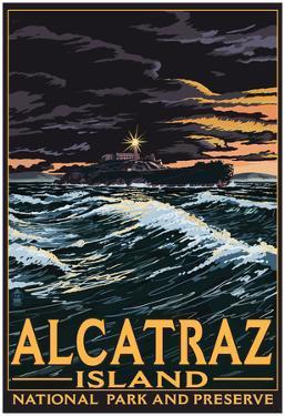 Alcatraz Island Night Scene - San Francisco, Ca
