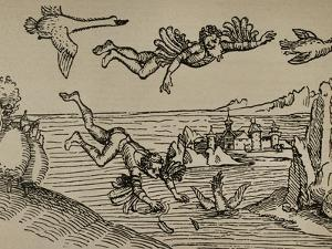 Icarus and Daedalus Flying by Aldo Carpi