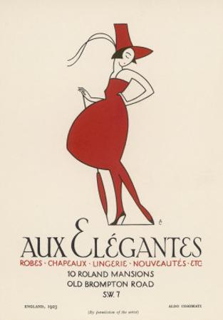 "Poster Advertising ""Aux Elegantes"" in London's Old Brompton Road by Aldo Cosomati"