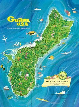 Map of Guam, USA - Where America's Day Begins by Alec Baird