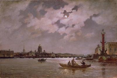 View of the Neva and the Admiralteyskaya Embankment by Moonlight, 1882