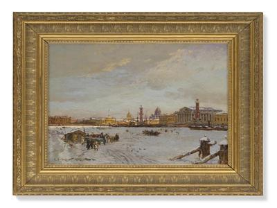 View over the frozen Neva, St Isaac's Cathedral and the Admiralty, St Petersburg, 1878