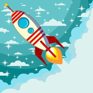 Cartoon Rocket Taking off against the Backdrop of the Moon and Clouds with Space for Text. Stock Ve by alekseiveprev