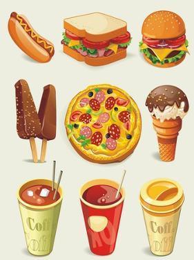 Cartoon Fast Food Icon by Aleksey Vl B.