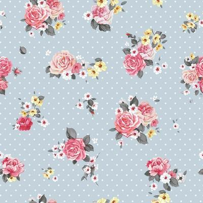 Floral Pattern with Blooming Flowers