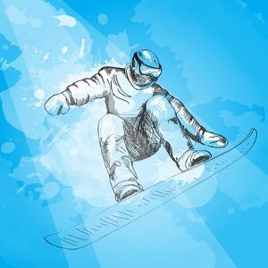 Snowboarding. Hand Drawn Illustration by Alena Kaz