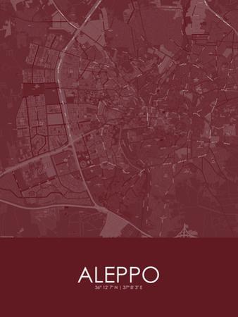 Aleppo, Syrian Arab Republic(Syria) Red Map
