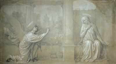 The Annunciation, Preparatory Cartoon for the Cappella Raffo fresco in Misericordia Cemetery, Siena by Alessandro Franchi