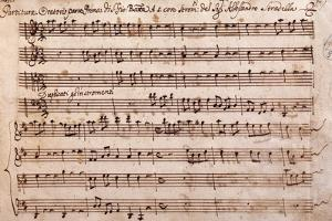 First Page of the Sheet Music of the Oratorio of Saint John the Baptist by Alessandro Stradella