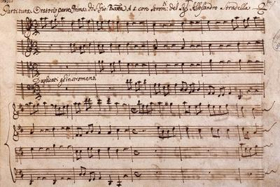 First Page of the Sheet Music of the Oratorio of Saint John the Baptist