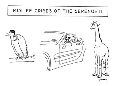 Mid-life Crises of the Serengeti - New Yorker Cartoon by Alex Gregory