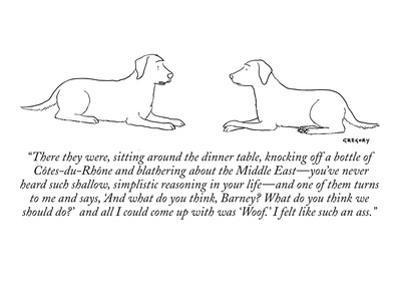 """There they were, sitting around the dinner table, knocking off a bottle o…"" - New Yorker Cartoon by Alex Gregory"
