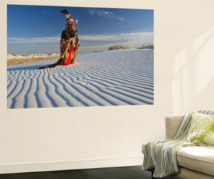 Native American in Full Regalia, White Sands National Monument, New Mexico, USA Mr by Alex Heeb