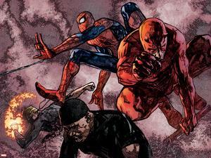 Daredevil No.60 Group: Daredevil, Spider-Man, Iron Fist, and Luke Cage Fighting by Alex Maleev