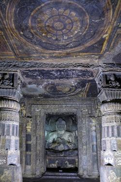 Buddha statue and painting in the Ajanta Caves, UNESCO World Heritage Site, Maharashtra, India, Asi by Alex Robinson